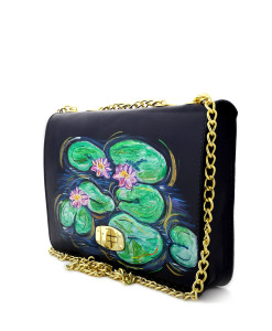 Hand painted bag - Water Lilies