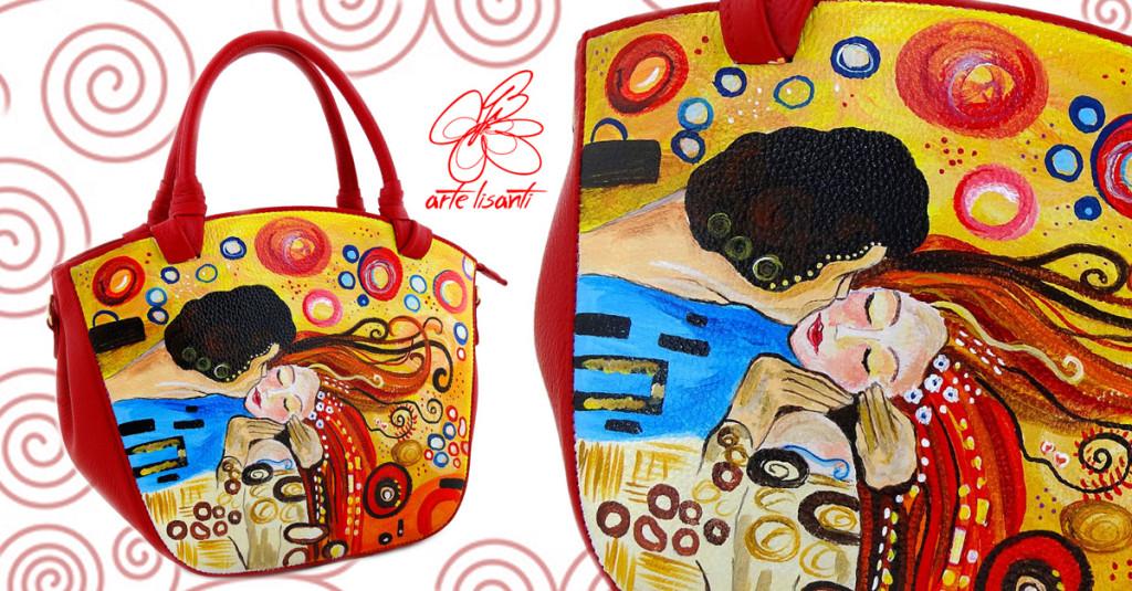 Borsa dipinta a mano - Bacio appassionato di Sophie Vogel