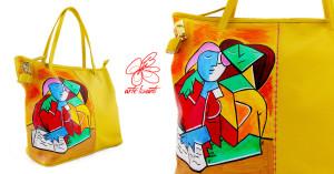 Borsa dipinta - due ragazze che leggono di Picasso