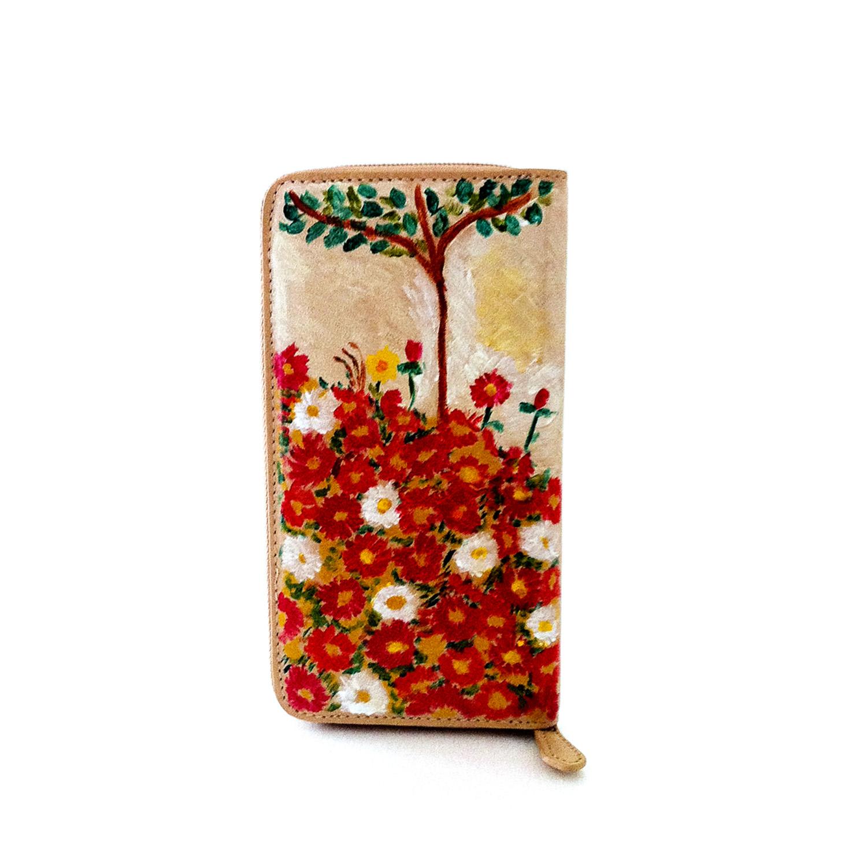 Hand painted wallet - Flowers field by Schiele