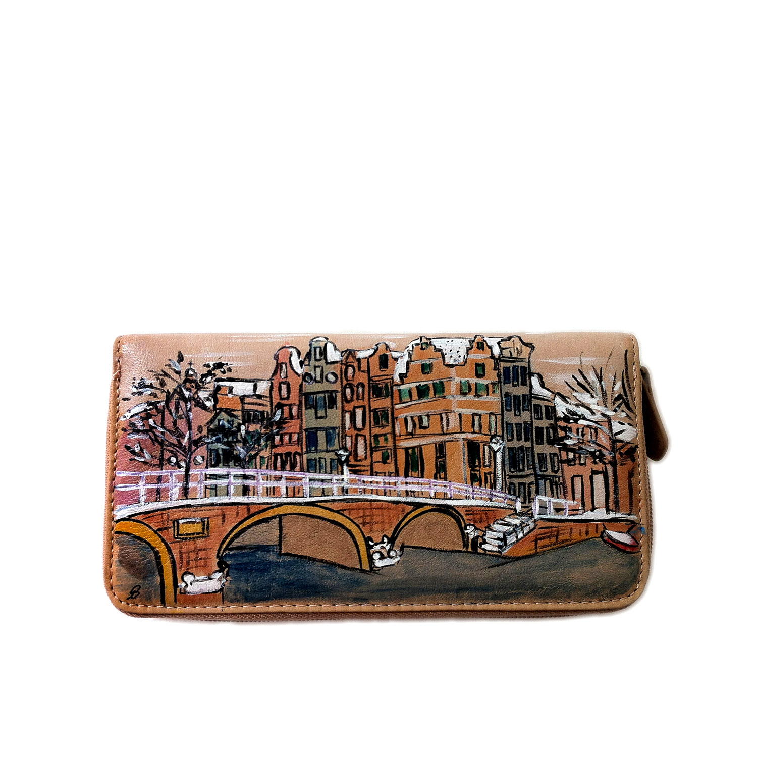 Hand painted wallet - White Amsterdam