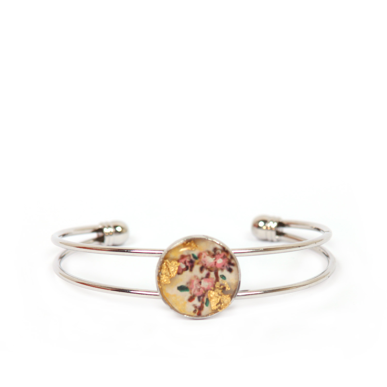 Hand-painted bangle - Peach flowers
