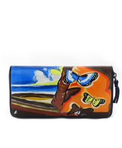 Portafoglio dipinto a mano – Paesaggio con Farfalle di Dalì