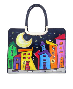 Borsa dipinta a mano – Cartoon city night evolution