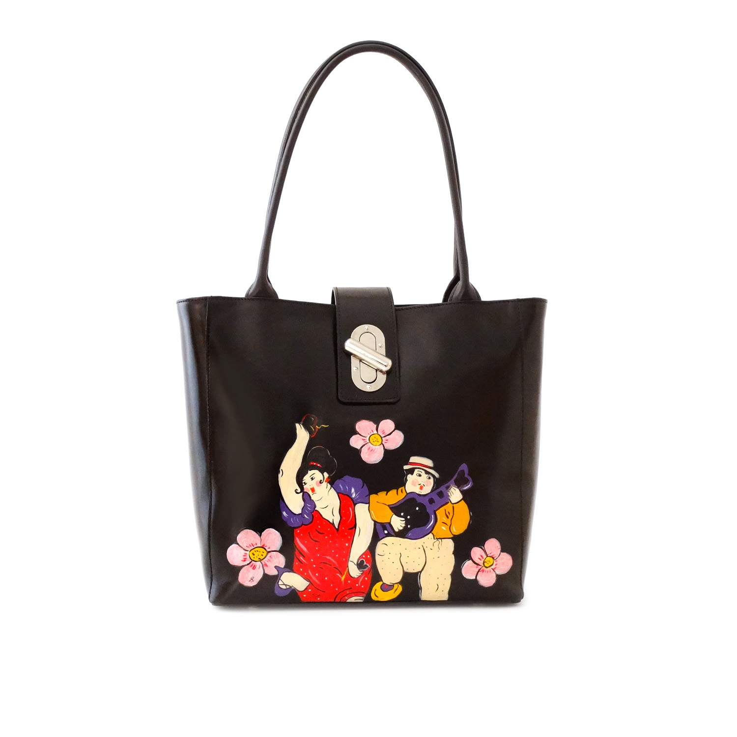 Hand painted bag - Tribute to the musicians by Botero