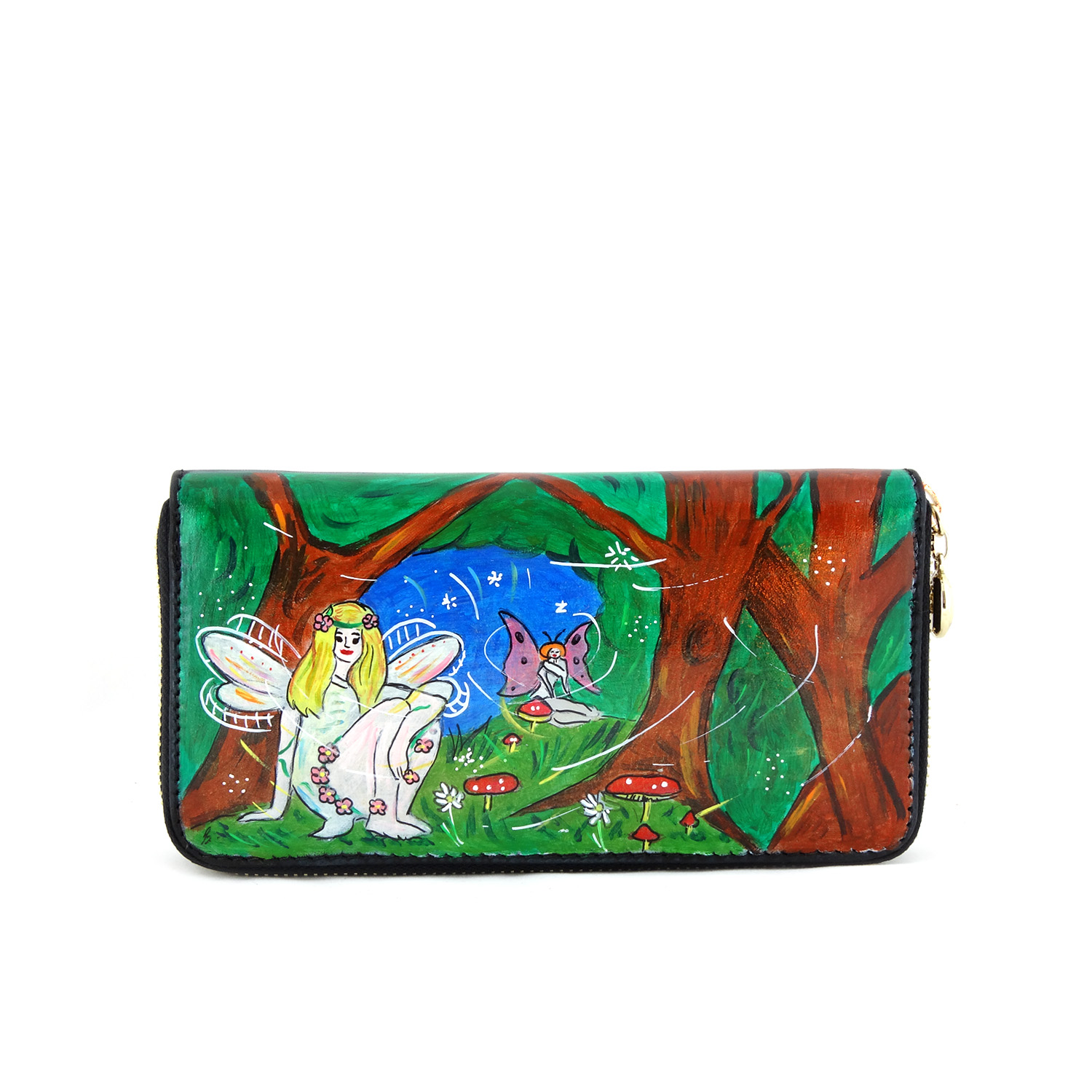 Hand painted wallet - The forest fairy