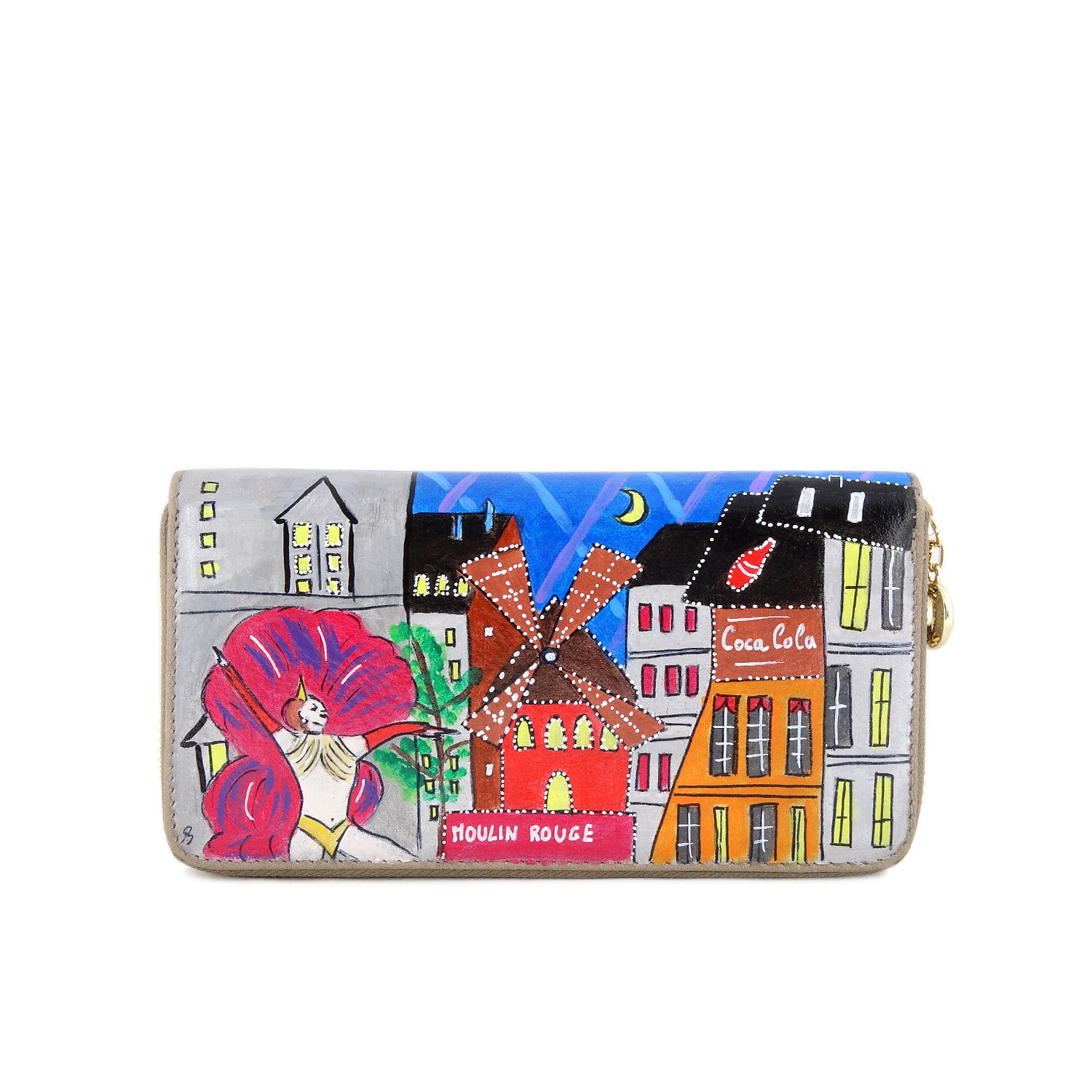 Hand painted wallet - Moulin Rouge