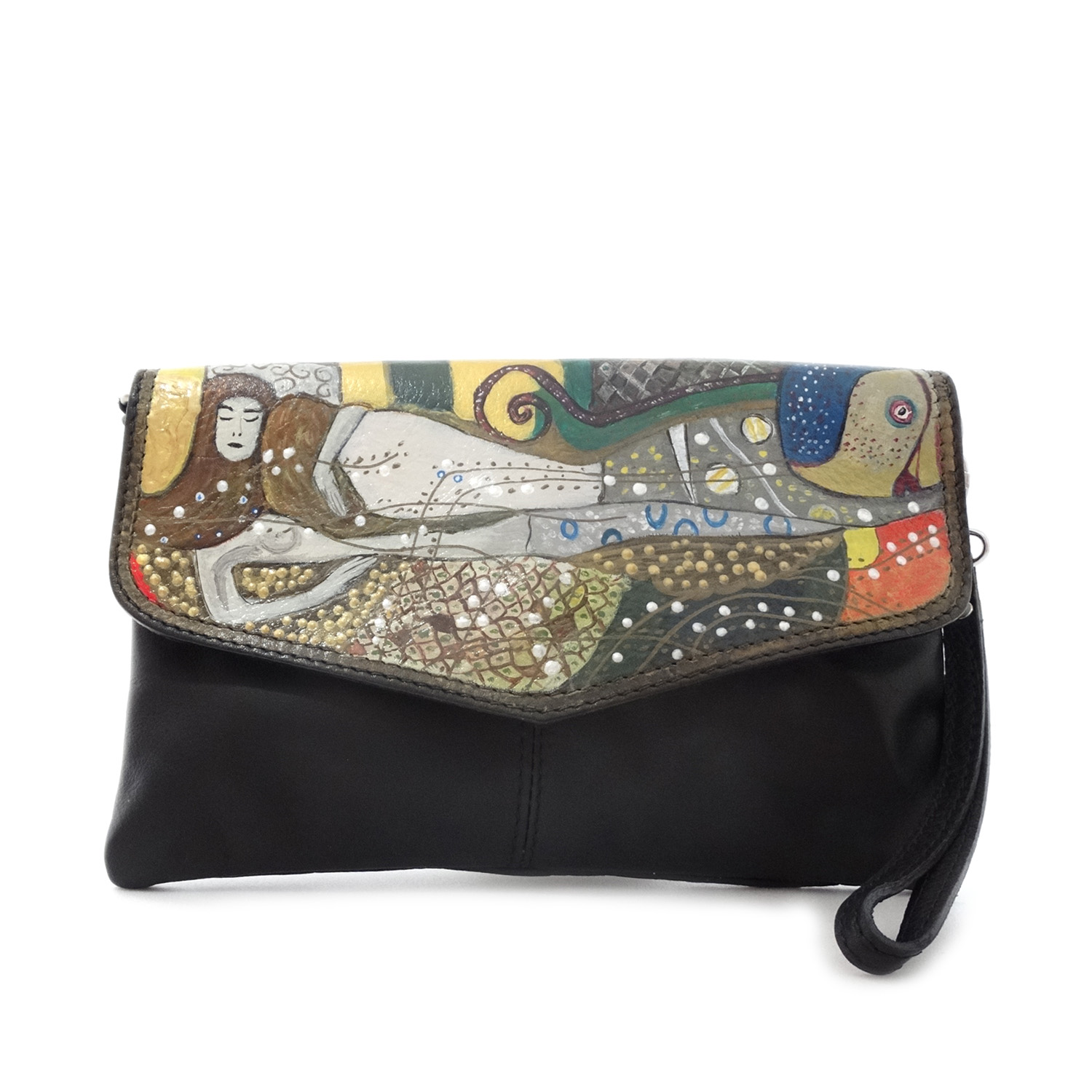 Hand painted bag - Water Snakes by Klimt