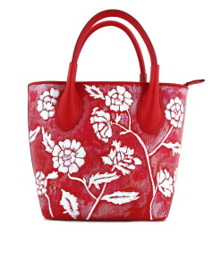 Borsa dipinta a mano – White on red