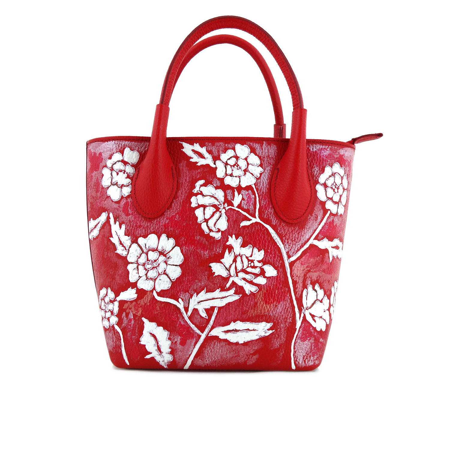 Hand painted bag - White on red