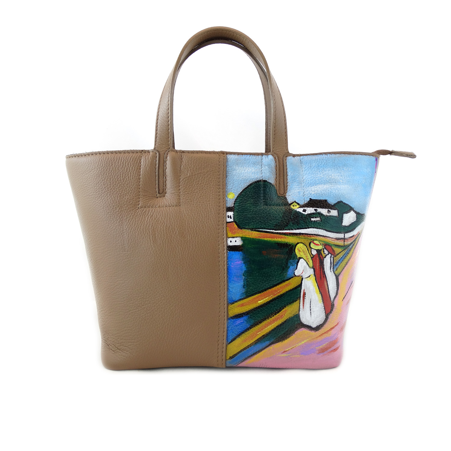 Hand painted bag - Girls on the bridge by Munch