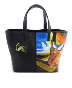 Hand painted bag - Landscape with butterflies by Dali