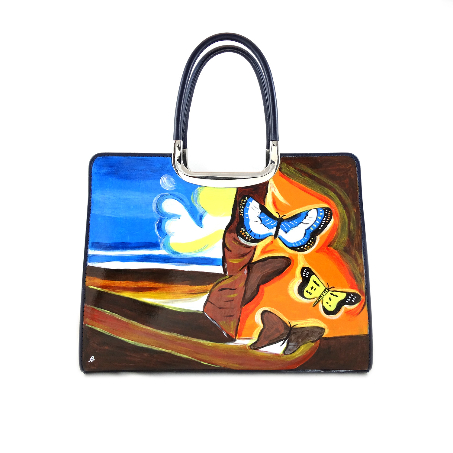 Handpainted bag - Landscape with butterflies by Dali