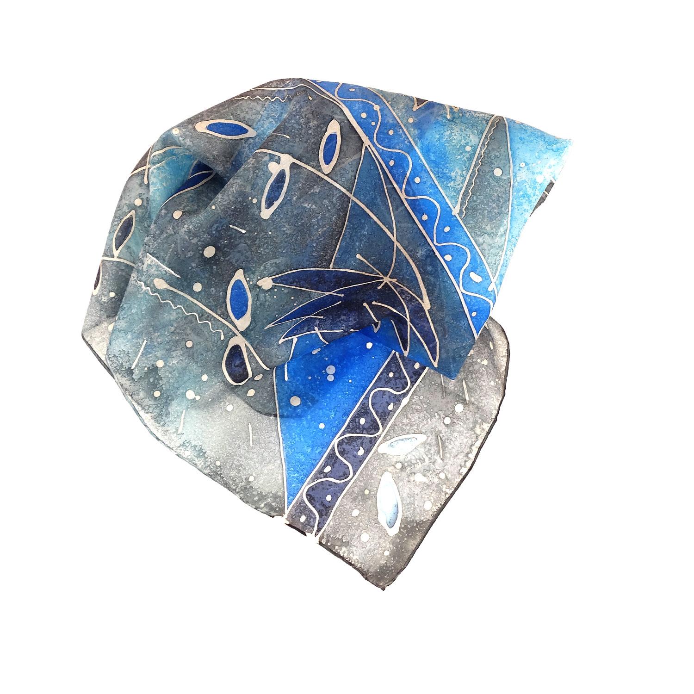 Foulard dipinto a mano – Momenti di blu