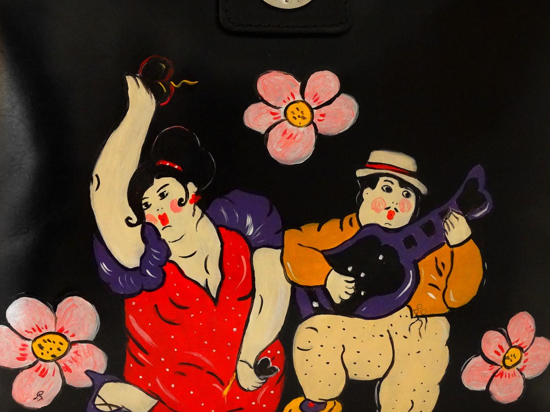 Borsa dipinta a mano – Omaggio ai musicanti di Botero