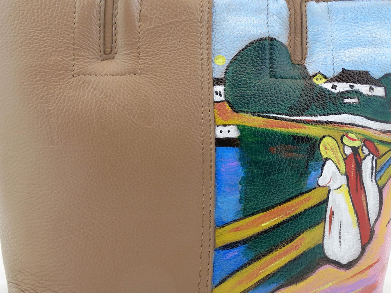 Borsa dipinta a mano – Ragazze sul ponte di Munch