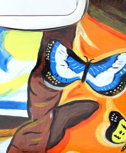 Borsa dipinta a mano – Paesaggio con farfalle di Dalì
