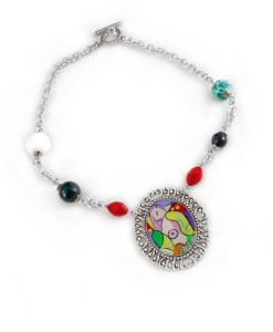 Hand-painted necklace - Reading Marie Therese by Picasso
