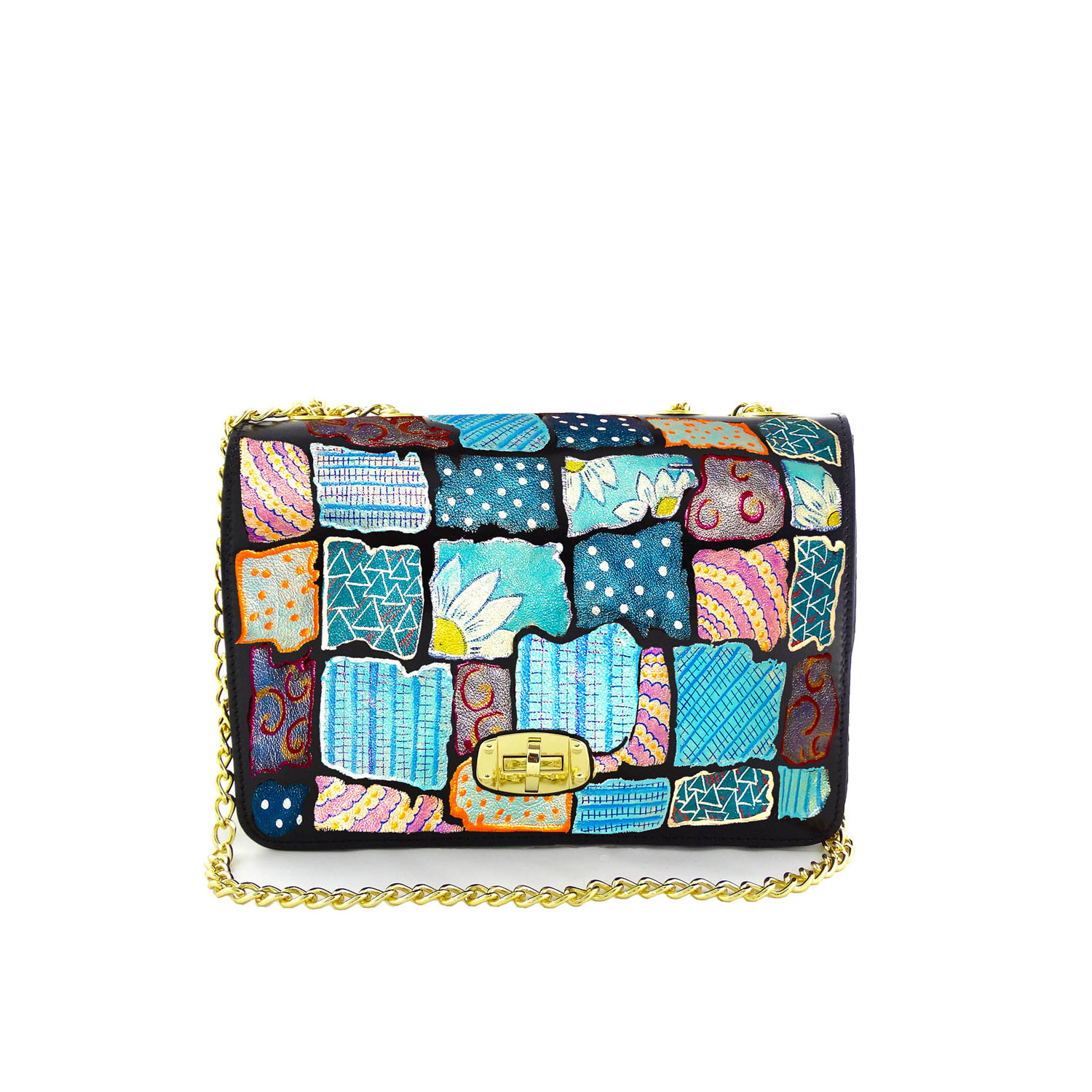 Hand painted bag - Patchwork