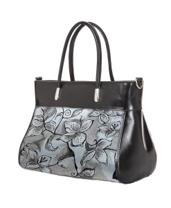 Hand-painted bag - Black and white flowers