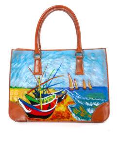 Borsa dipinta a mano - Barche di pescatori sulla spiaggia di Les Saintes-Maries