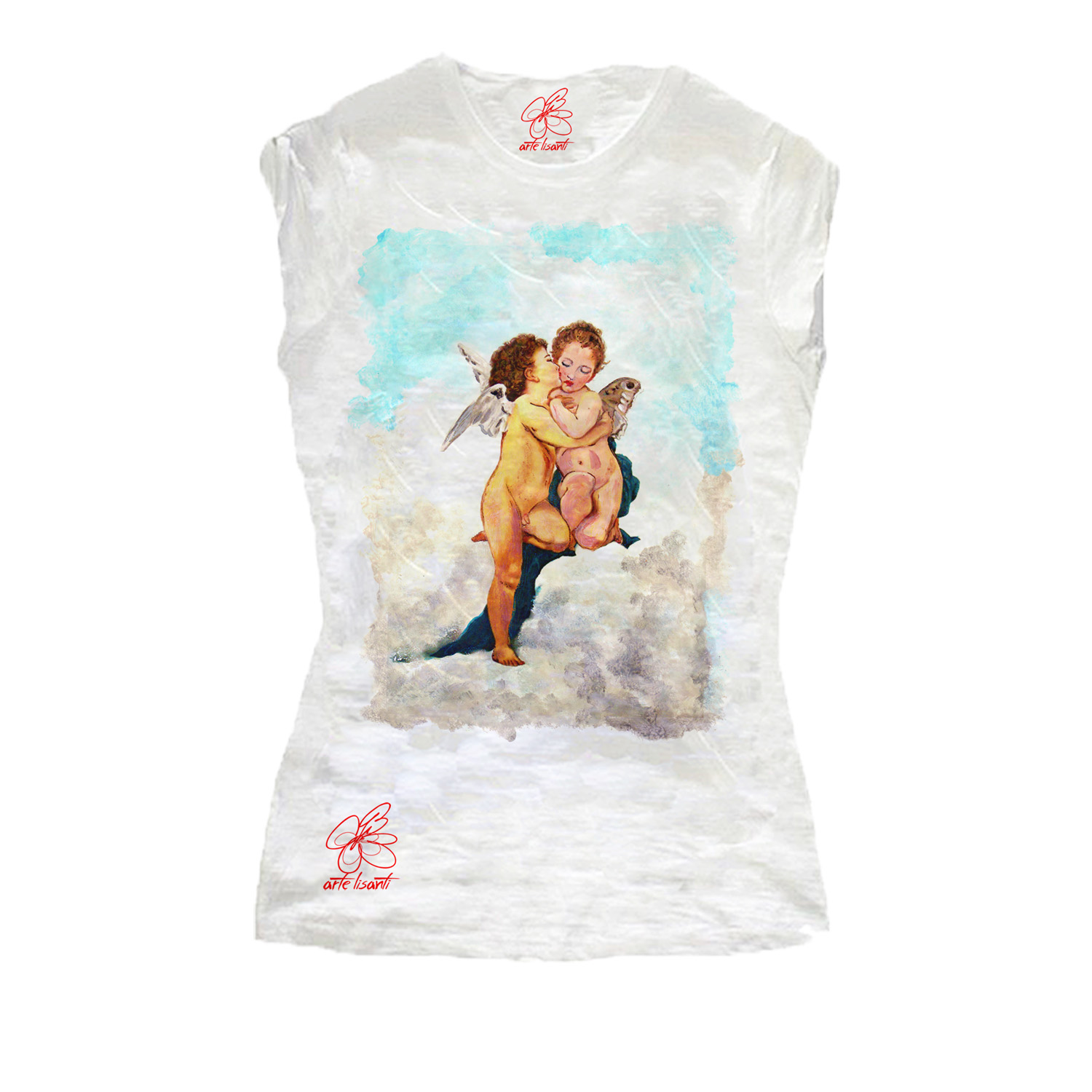 Hand-painted T-shirts -Love and Psyche, children by Bouguereau