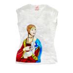 T-shirt dipinta a mano - Dama con ermellino di Leonardo