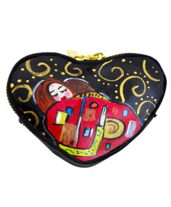 Hand-painted coin purse - The embrace by Klimt