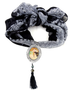 Foulard gioiello dipinto a mano – Madre e figlio di Klimt