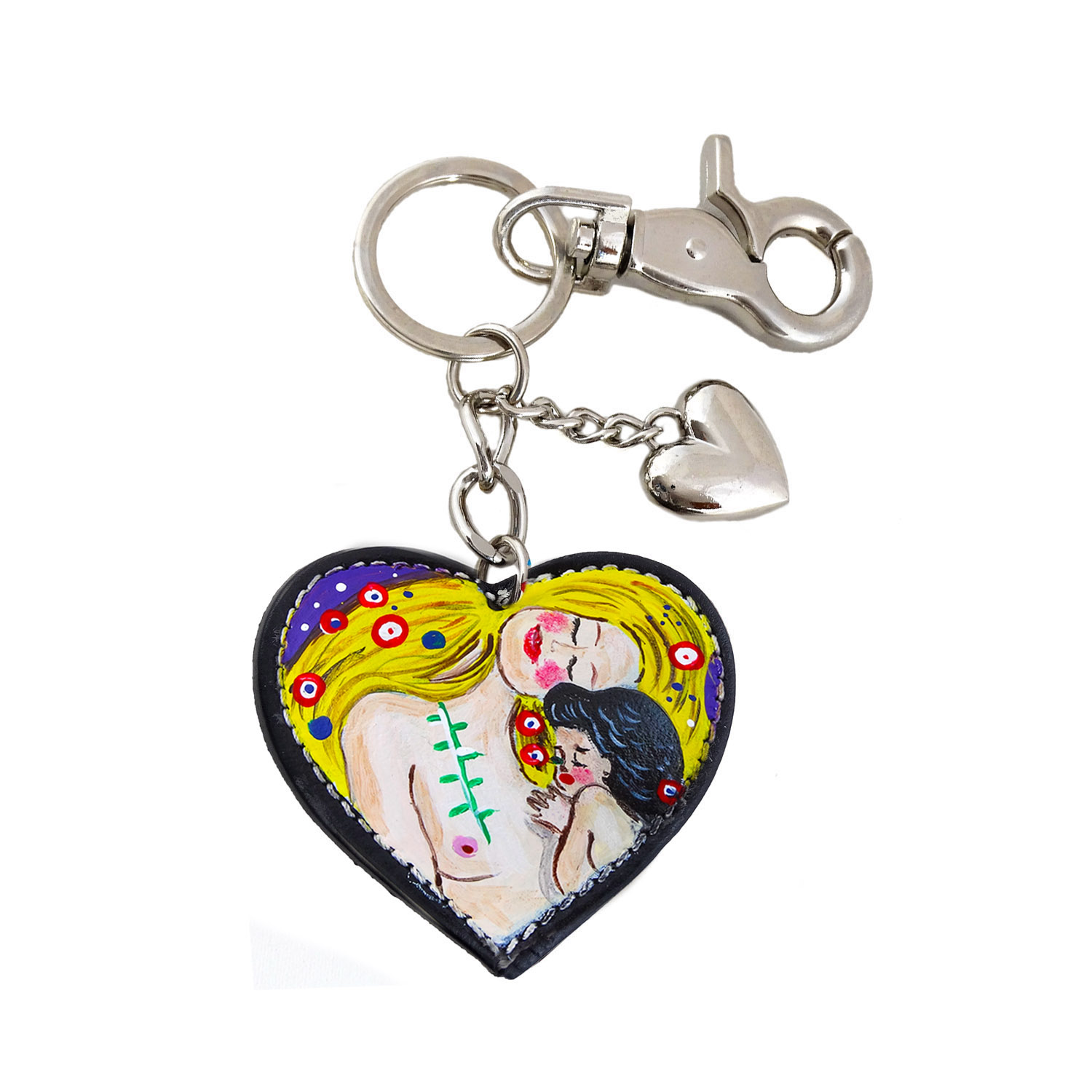 Hand painted keyring - Mother and child by Klimt