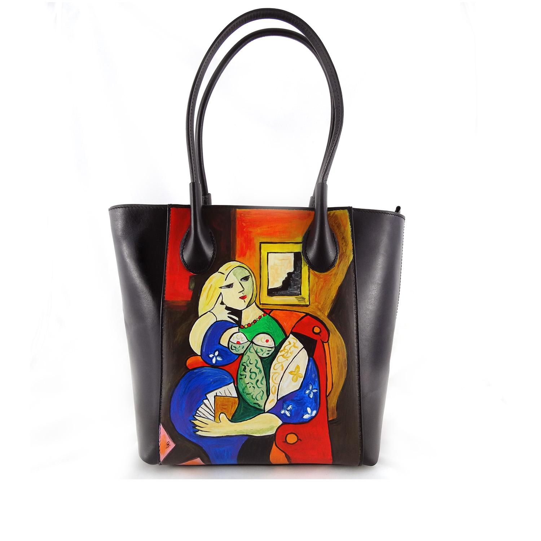 Borsa dipinta a mano - Donna che legge di Picasso