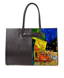 Borsa dipinta a mano – Caffè di notte di Van Gogh