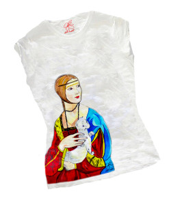 Hand-painted T-shirts - Lady with Ermine by Leonardo