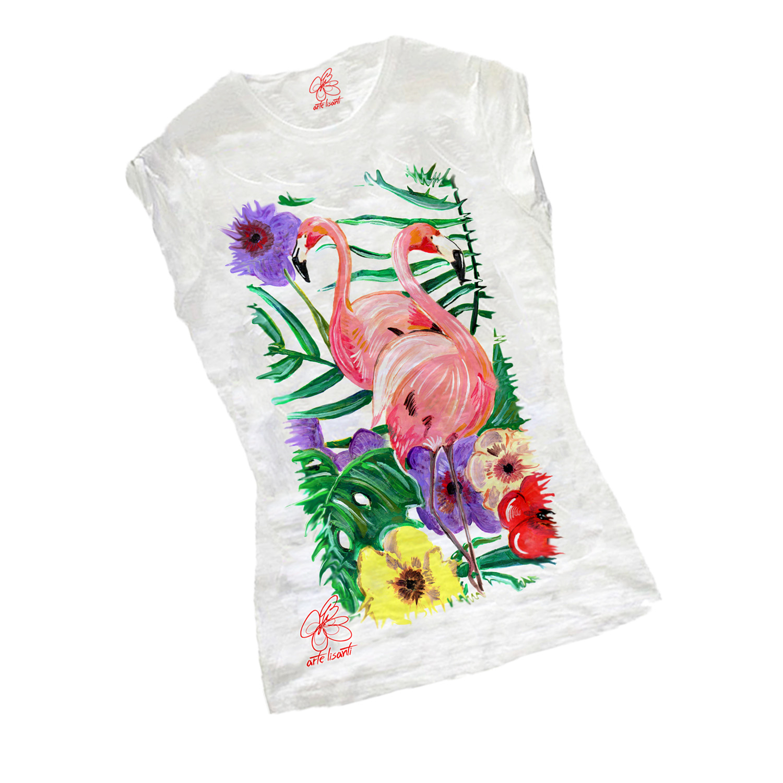 T-shirt dipinta a mano - La Frorida dei fenicotteri
