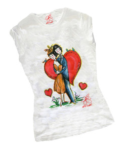 Hand-painted T-shirts - Tribute to lovers by Peynet