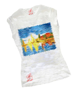 Hand-painted T-shirts - Regatta at Argenteuil by Monet