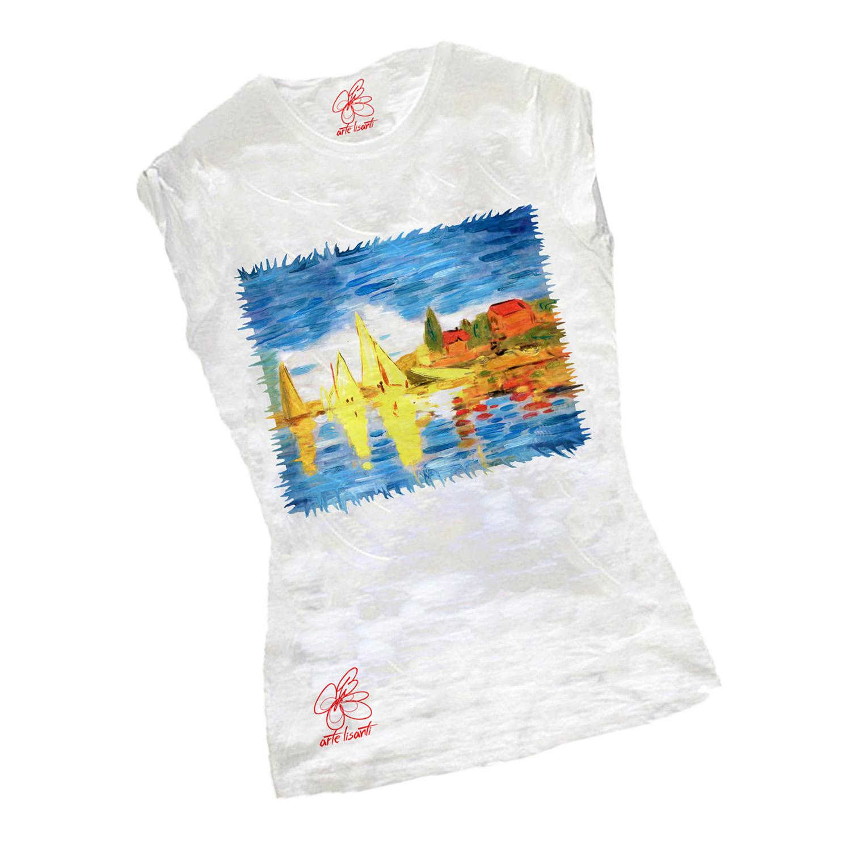 T-shirt dipinta a mano – Regate ad argenteuil di Monet