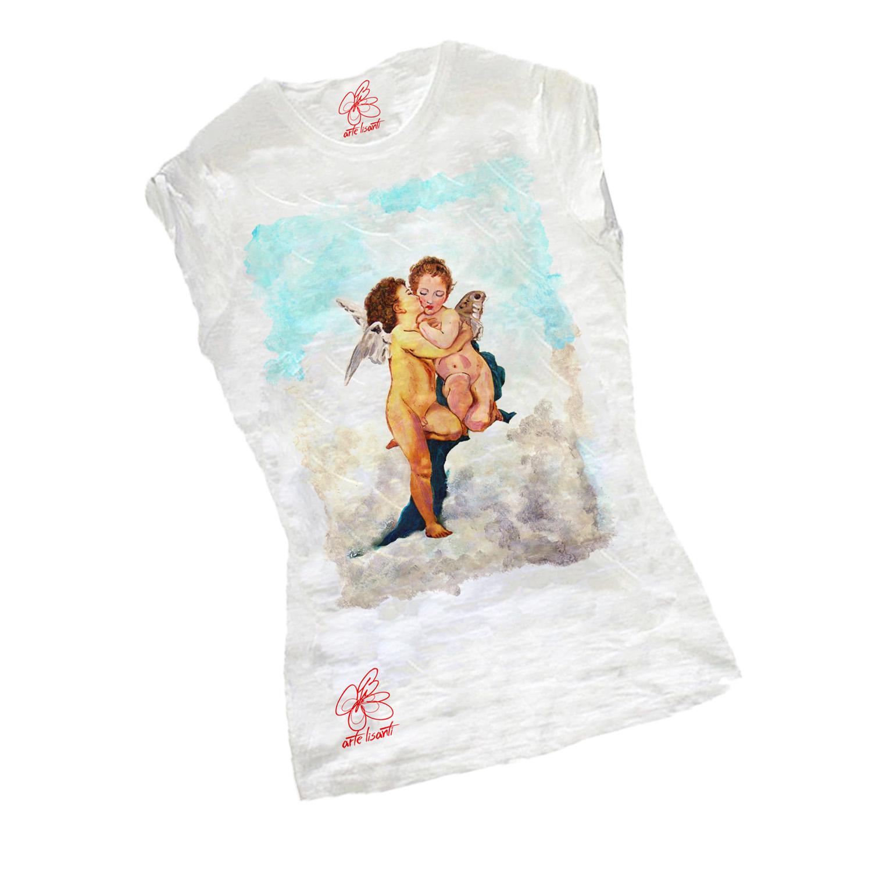 T-shirt dipinta - Amore e psiche, bambini di Bouguereau