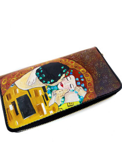 Handpainted wallet - The Kiss by Klimt
