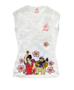 T-shirt dipinta a mano - Omaggio ai musicanti di Botero
