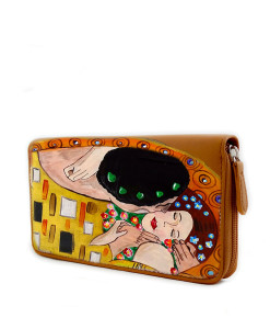 Portafoglio dipinto a mano – Il bacio di Klimt