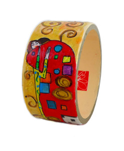 Hand painted bracelet - The embrace by Klimt