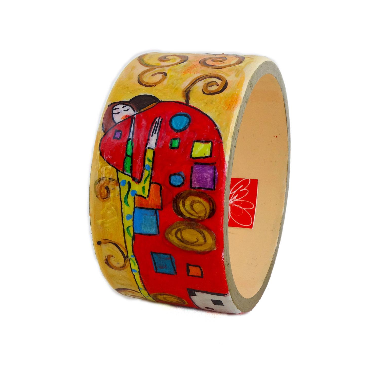 Bracciale dipinto a mano - L'abbraccio di Klimt