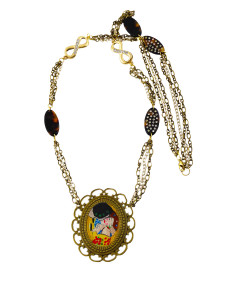 Handpainted necklace - The Kiss by Klimt