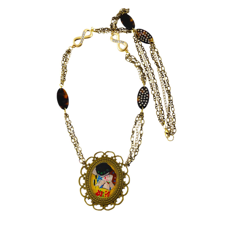 Collana dipinta a mano - il Bacio di Klimt