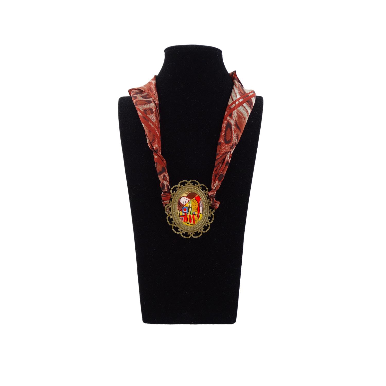 Foulard gioiello dipinto a mano - l'abbraccio di Klimt