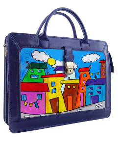 Handpainted bag - Cartoon city day