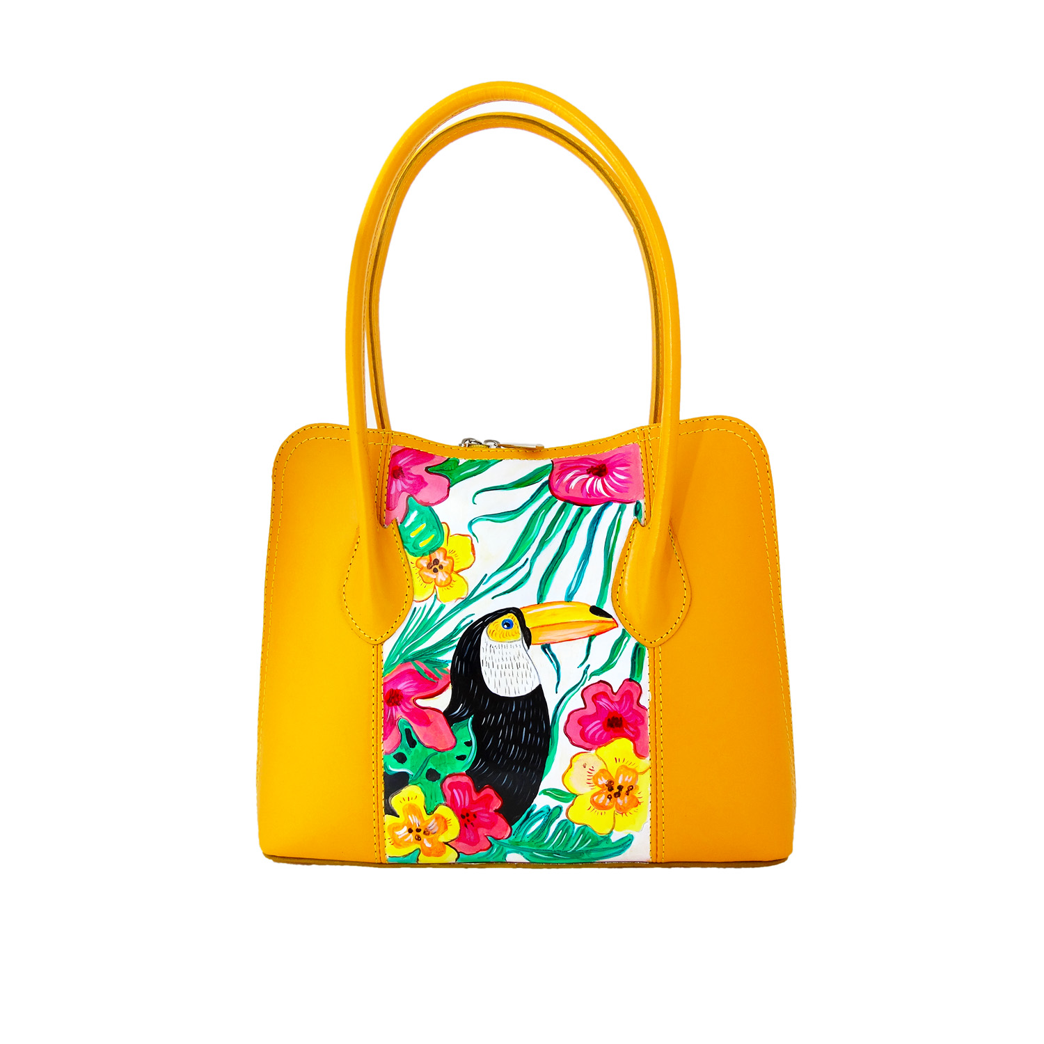 Hand-painted bag - Toucan and Brazil