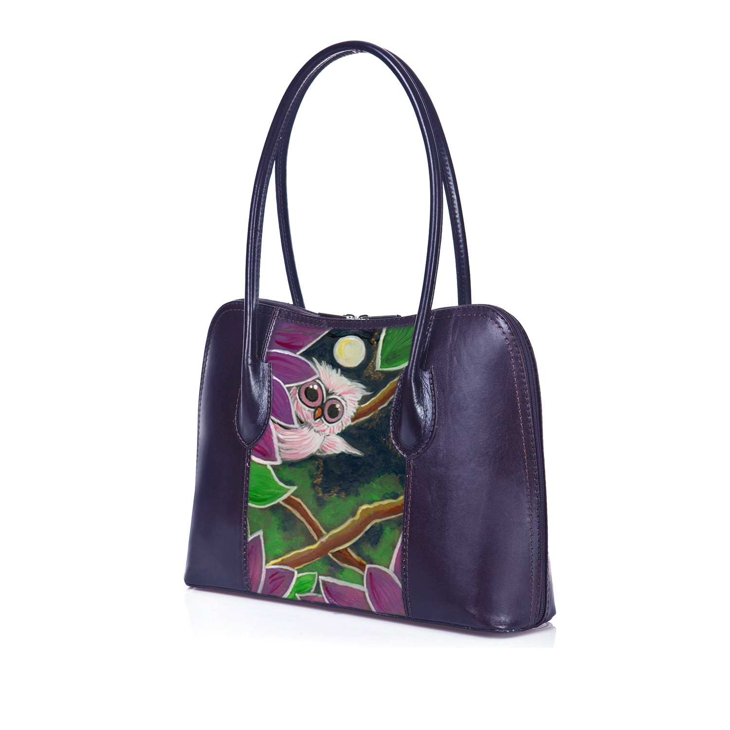 Hand-painted bag -The owl and the moon