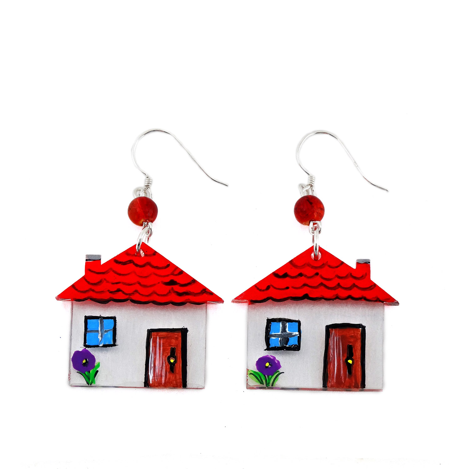 Hand-painted earrings - Home sweet home